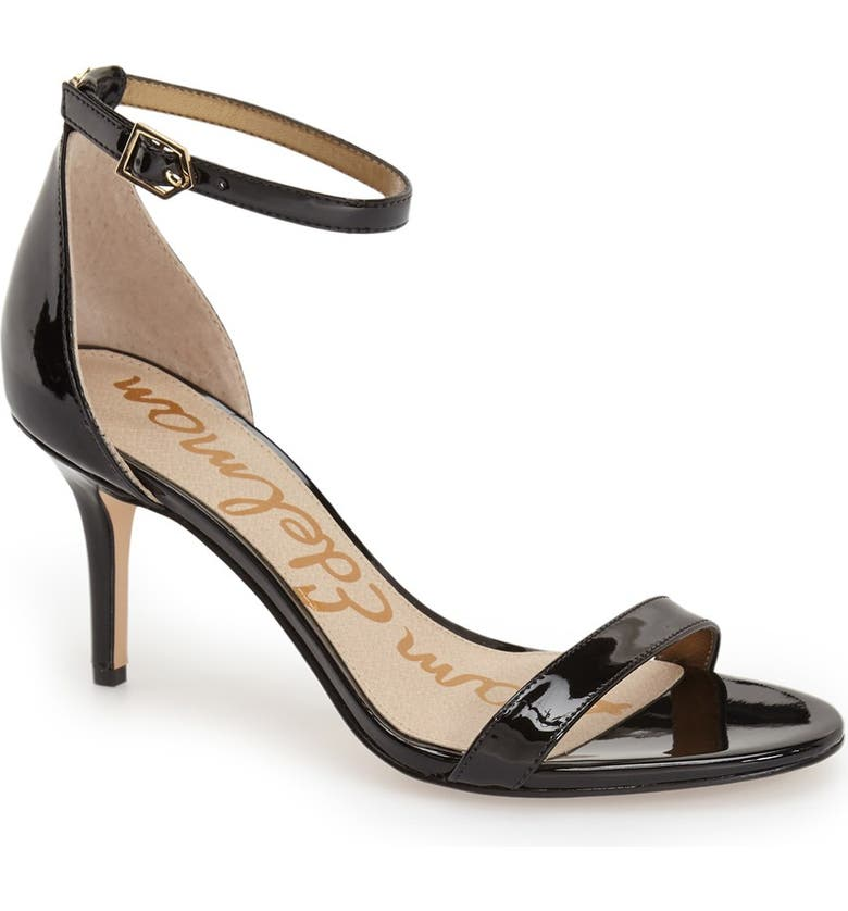 SAM EDELMAN 'Patti' Ankle Strap Sandal, Main, color, BLACK