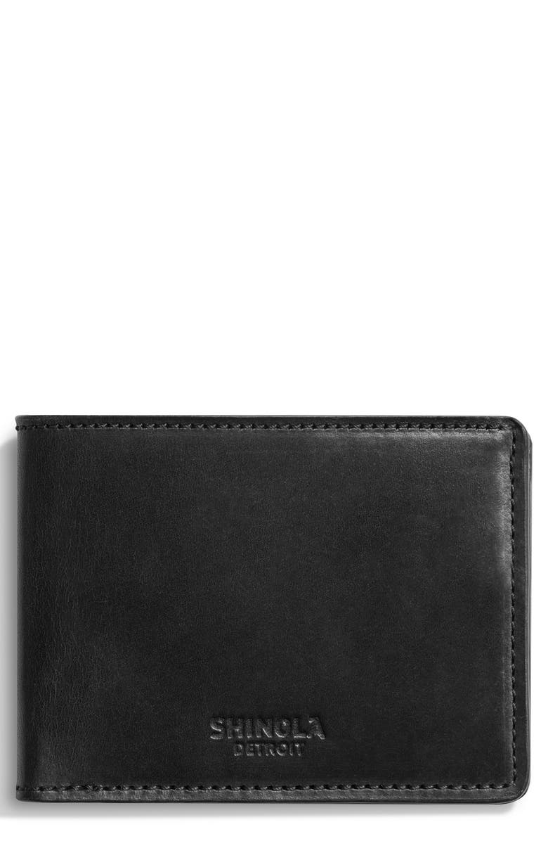 SHINOLA Harness Slim 2.0 Bifold Leather Wallet, Main, color, BLACK