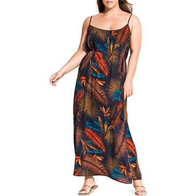 Plus Size City Chic Bay Islands Sleeveless Maxi Dress, Brown