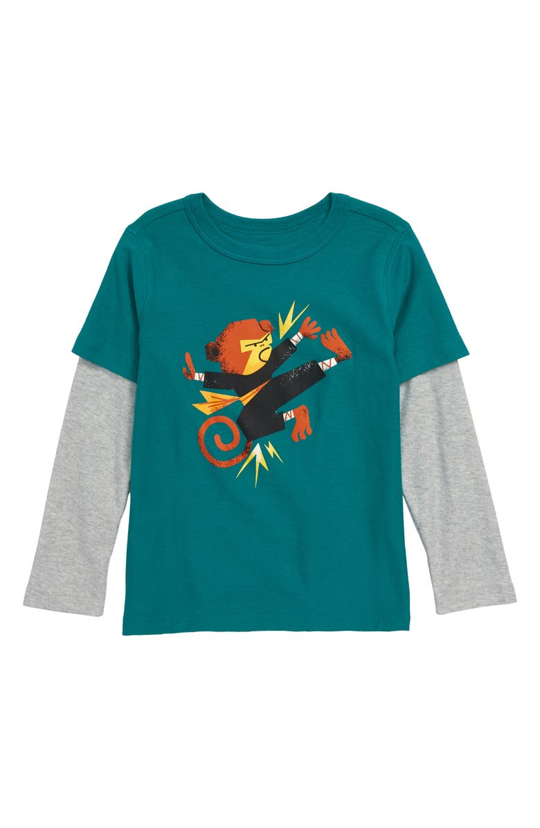 TEA COLLECTION Monkey Graphic Layered Long Sleeve T-Shirt, Main, color, SCUBA