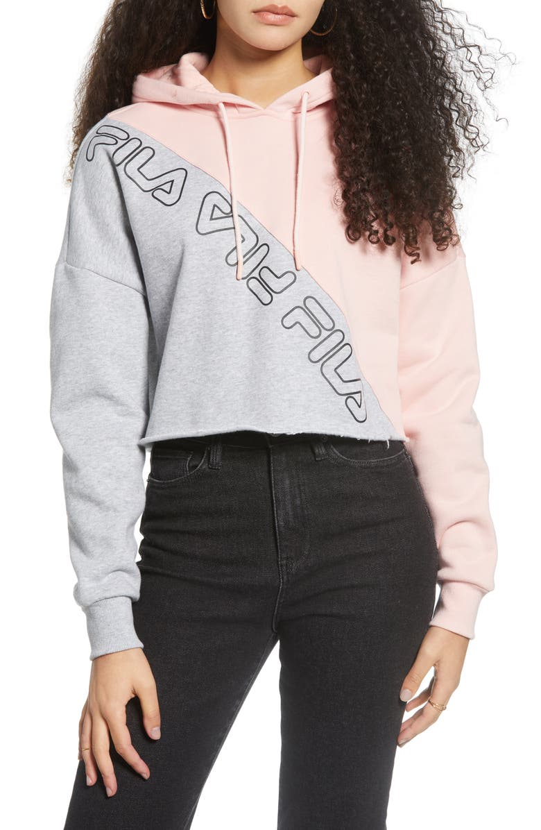 FILA Alianna Crop Hoodie, Main, color, BLEACHED SAND/ MARLIN/ WHITE
