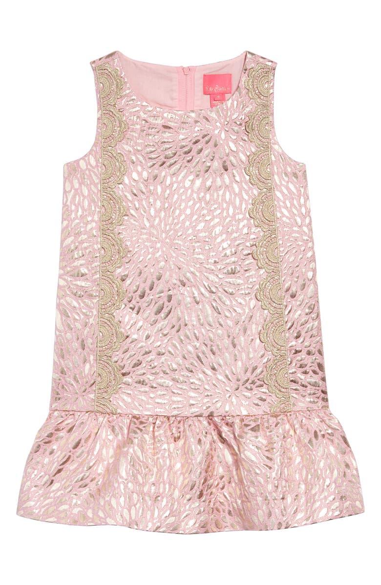 LILLY PULITZER<SUP>®</SUP> Thalia Metallic Jacquard Drop Waist Dress, Main, color, PINK