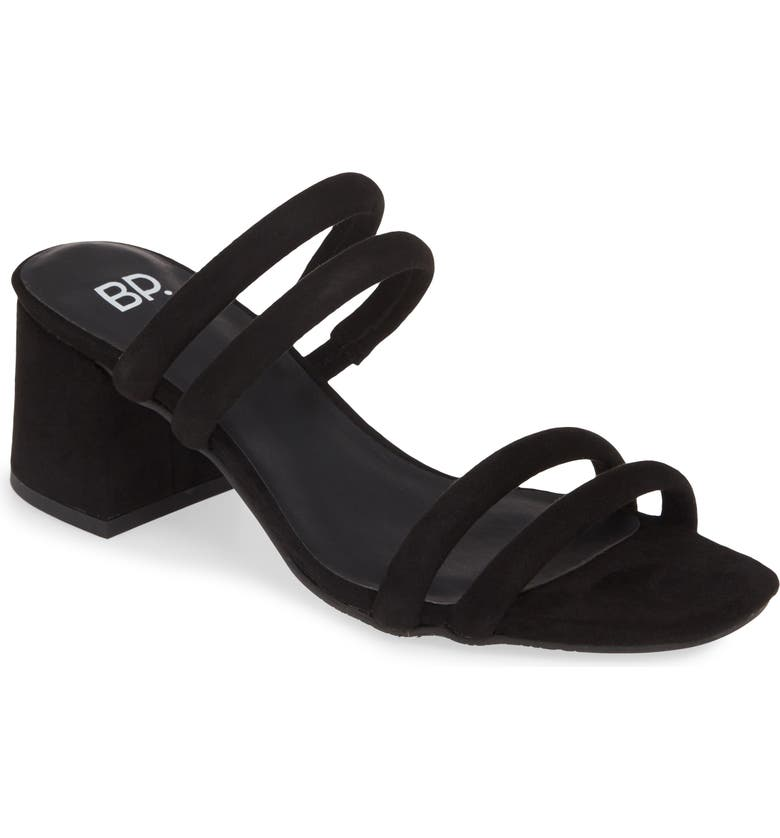 BP. Lucia Block Heel Slide Sandal, Main, color, BLACK FAUX SUEDE