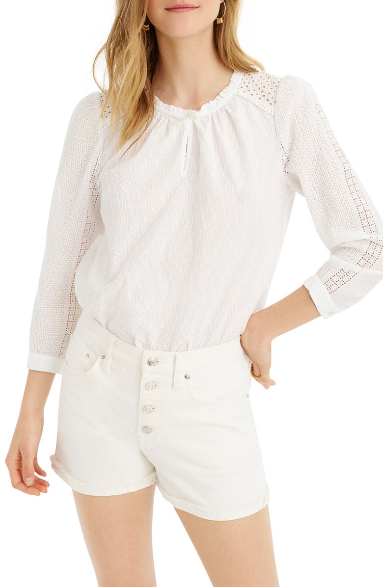 J.CREW Mixed Eyelet Popover Top, Main, color, WHITE