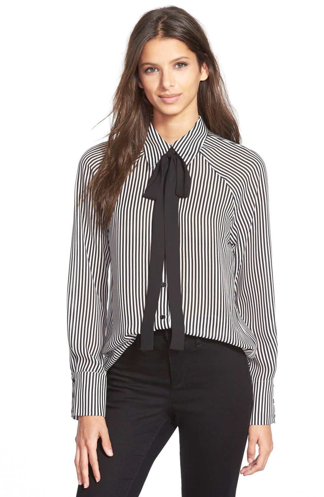 Tie Neck Button Front Blouse, Main, color, 900
