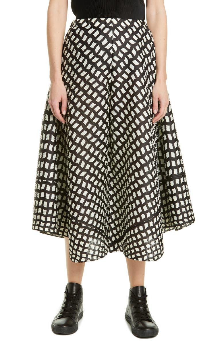 PLEATS PLEASE ISSEY MIYAKE Step Grid Wide Leg Crop Pants, Main, color, 15 BLACK