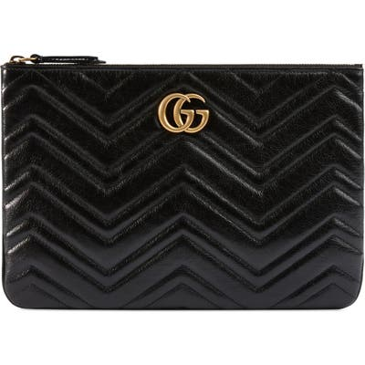 Gucci Gg Marmont 2.0 Matelasse Leather Pouch - Black