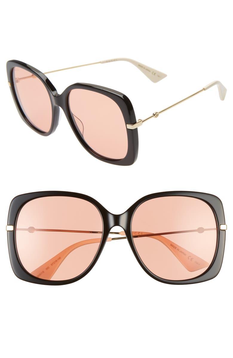 GUCCI 57mm Square Sunglasses, Main, color, BLACK/ ORANGE/ GOLD