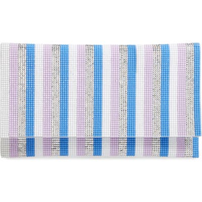 Nina Stripe Embellished Clutch - Blue