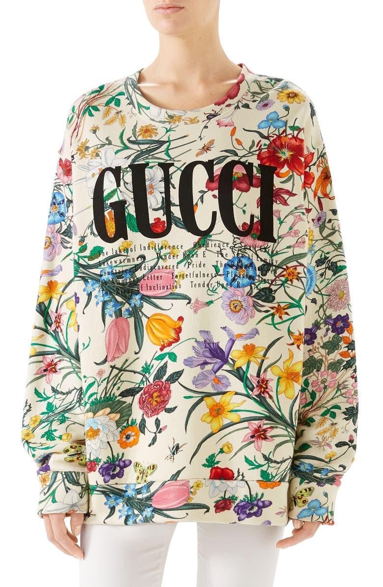 GUCCI Floral Print Cotton Jersey Sweatshirt, Main, color, IVORY/ MULTICOLOR PRINT