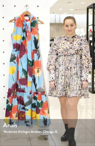 Lou Lou Floral Tie Neck Cotton Maxi Dress, sales video thumbnail