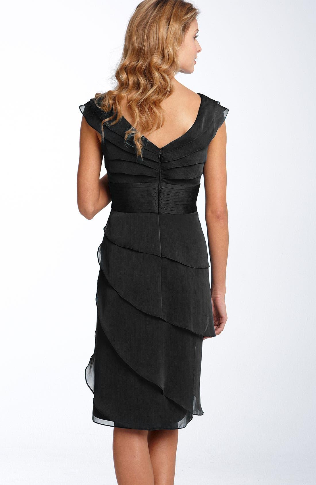 ,                             Tiered Chiffon Dress,                             Alternate thumbnail 3, color,                             001