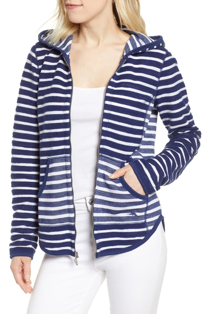 TOMMY BAHAMA Villa Lines Zip Hoodie, Main, color, ISLAND NAVY