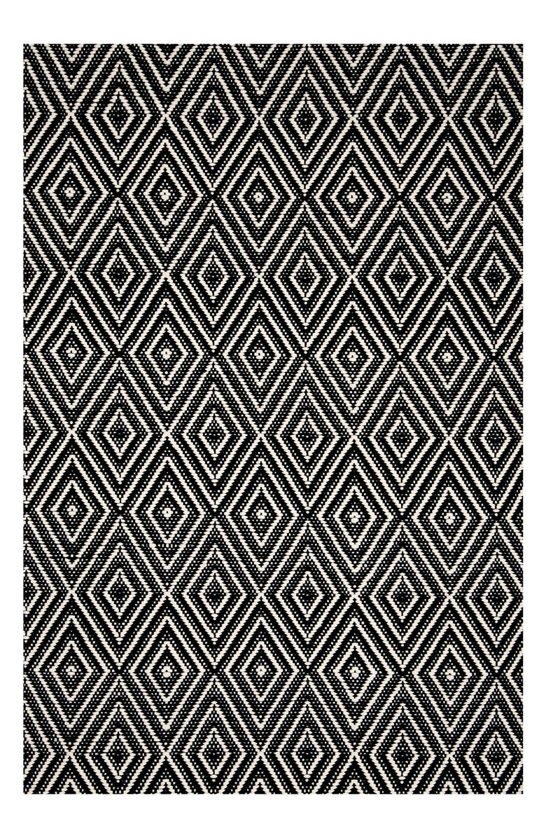 DASH & ALBERT Diamond Indoor/Outdoor Rug, Main, color, BLACK