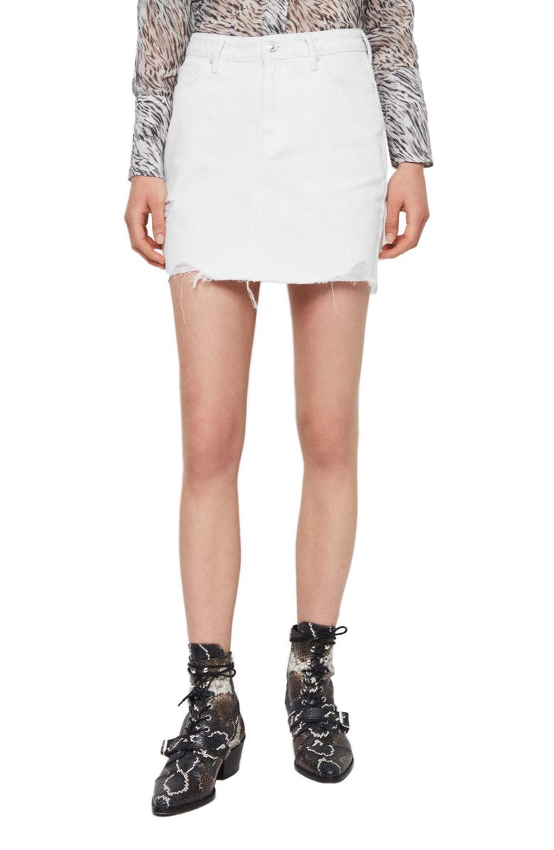 ALLSAINTS Betty Raw Hem Denim Miniskirt, Main, color, WHITE