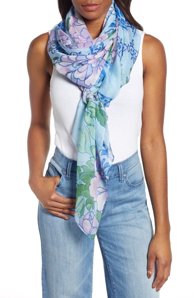 NORDSTROM Silk Chiffon Oblong Scarf, Main, color, BLUE ANCIENT ROSE
