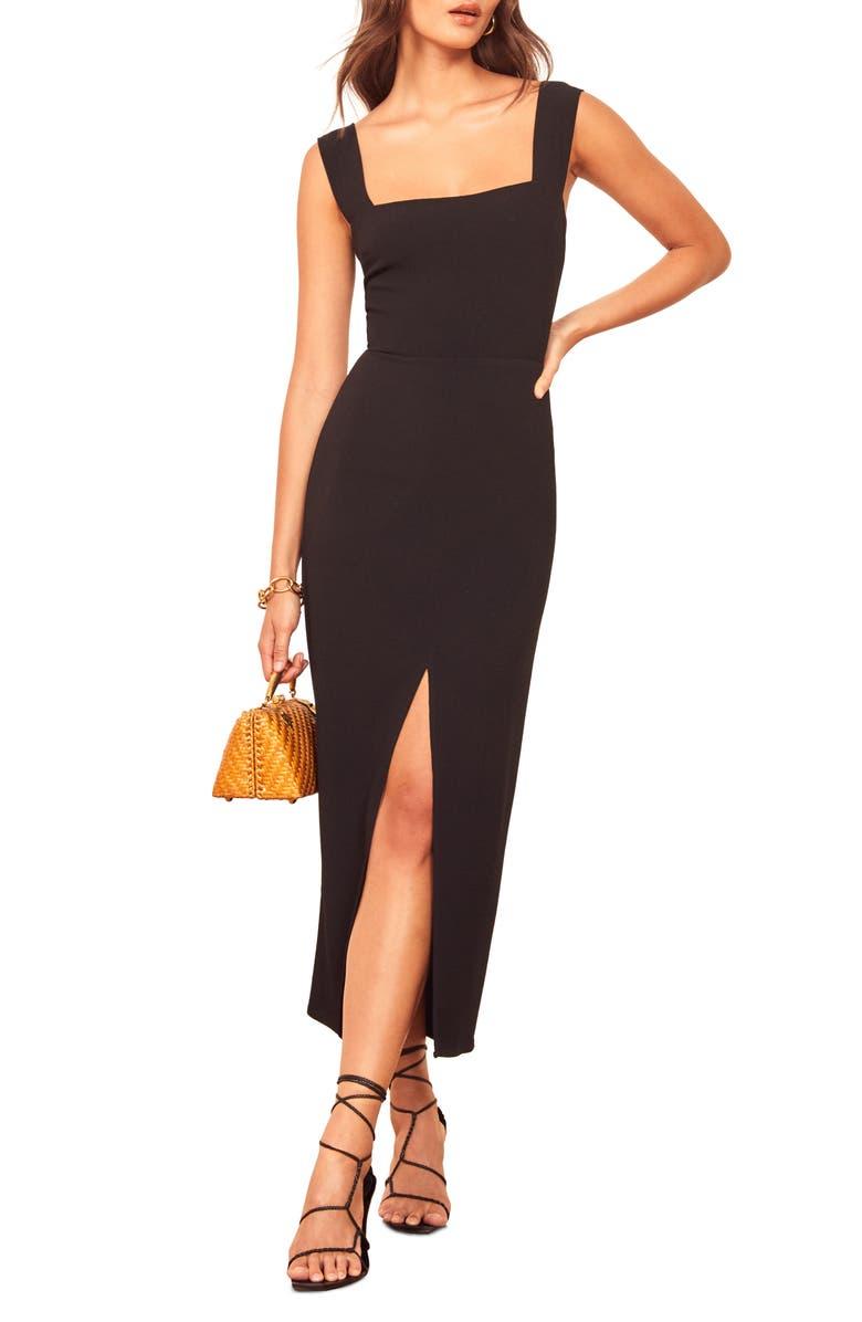 REFORMATION Graciella Sleeveless Maxi Dress, Main, color, BLACK