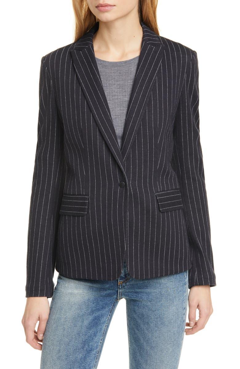 RAG & BONE Lexington Pinstripe Cotton Blazer, Main, color, 419
