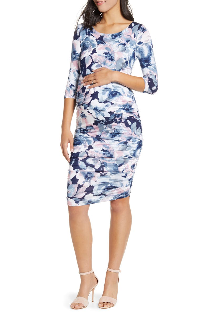 ANGEL MATERNITY Floral Ruched Body-Con Maternity Dress, Main, color, BLUE & PINK PRINT
