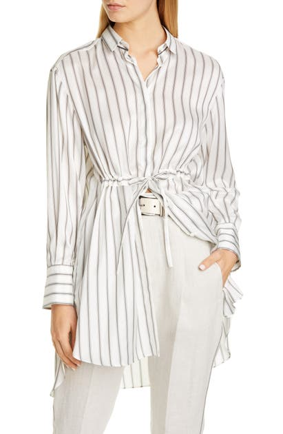 Brunello Cucinelli Tie Waist Stripe Silk Shirt In White/ Black/ Beige