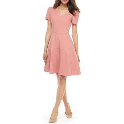 Gal Meets Glam Collection Kate V-Neck Fit & Flare Dress, Pink