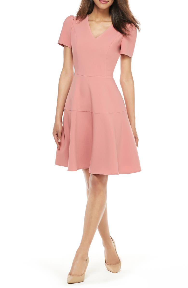 GAL MEETS GLAM COLLECTION Kate V-Neck Fit & Flare Dress, Main, color, ROSETTA