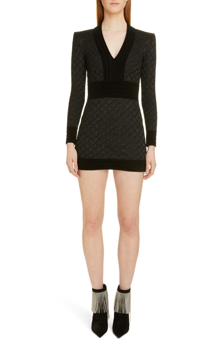 BALMAIN Diamond Knit Long Sleeve Sweater Dress, Main, color, NOIR/ ARGENT