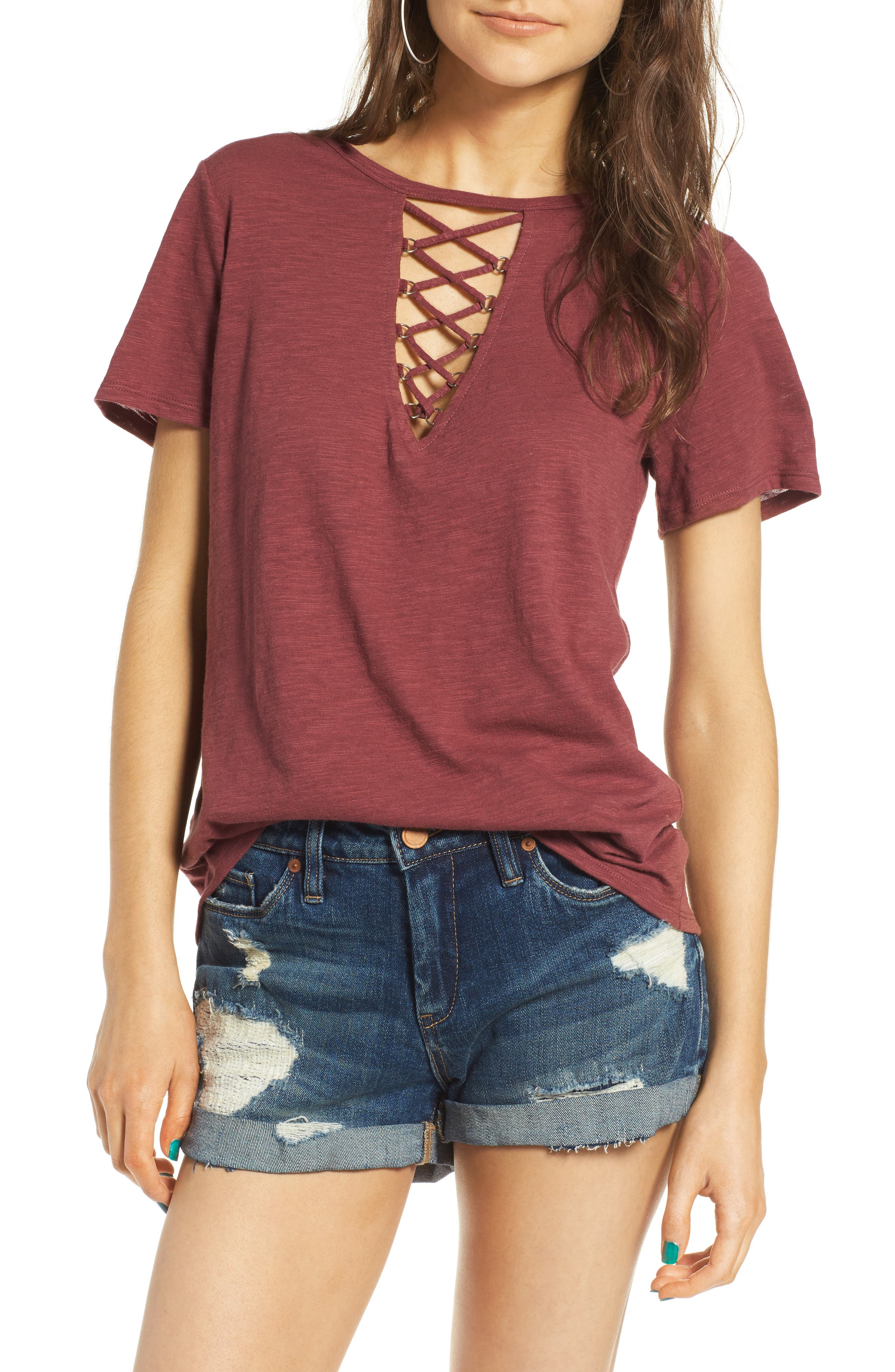 ,                             Grommet Lace-Up Tee,                             Main thumbnail 35, color,                             200