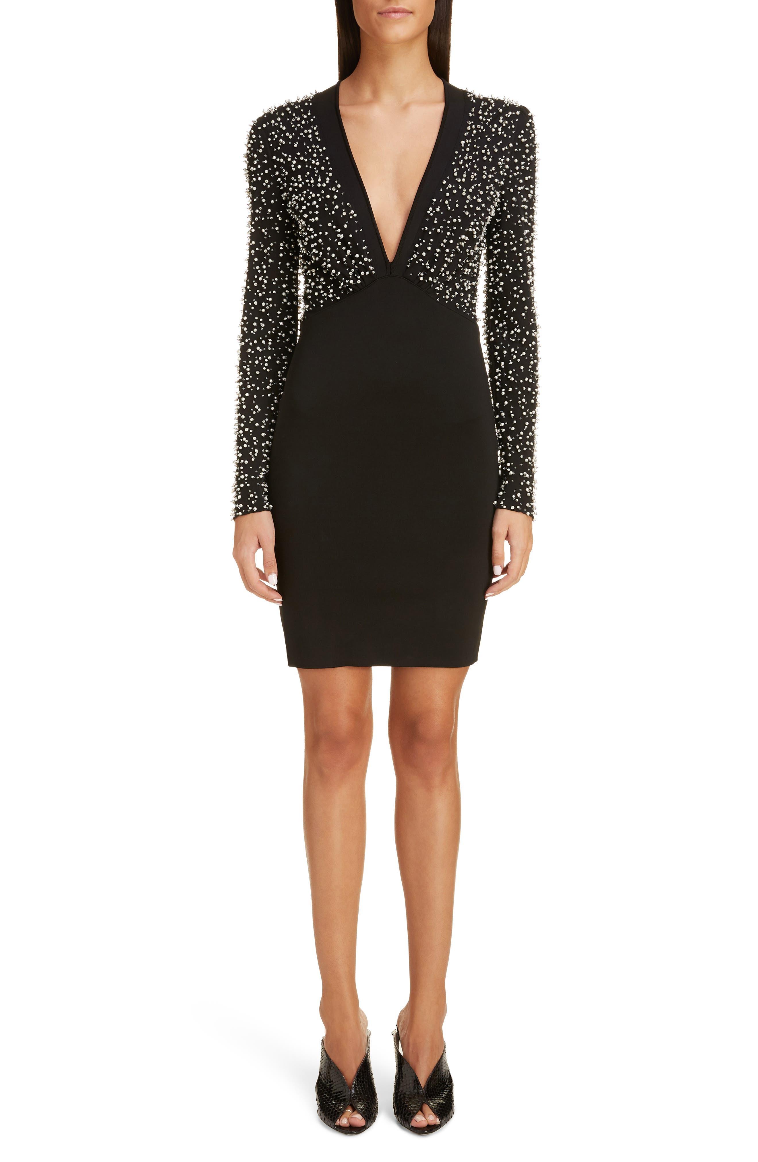 Givenchy Beaded Long Sleeve Dress, Black