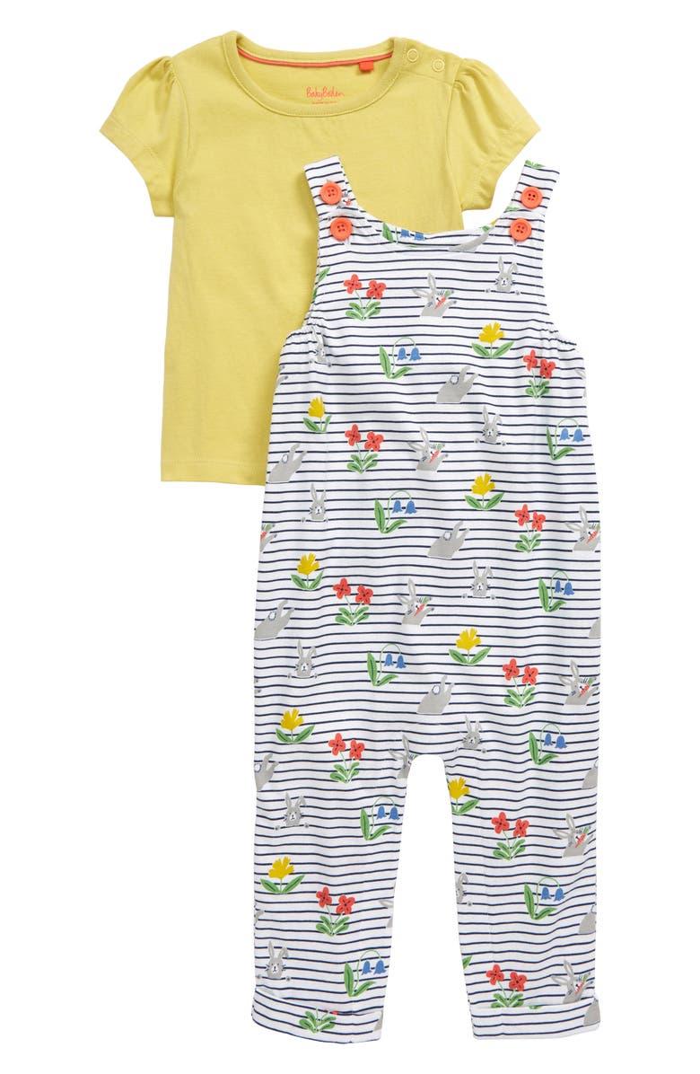 MINI BODEN Print Jersey Overalls & T-Shirt Set, Main, color, 022