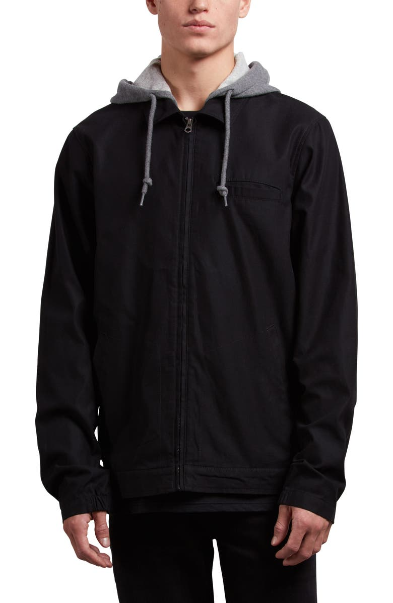 VOLCOM Warren Twill Jacket with Fleece Hood, Main, color, BLACK