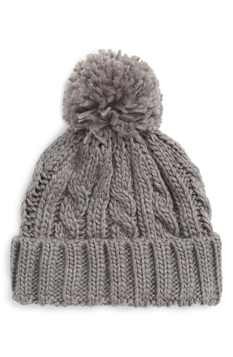 TUCKER + TATE Cable Knit Beanie, Main, color, GREY ALLOY