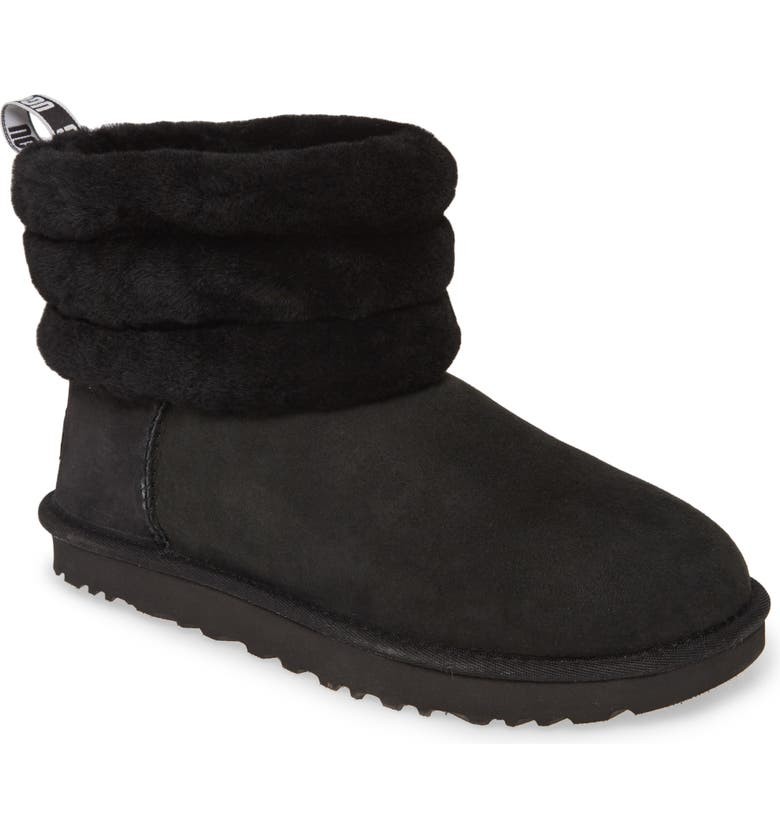 UGG<SUP>®</SUP> Fluff Mini Quilted Boot, Main, color, BLACK