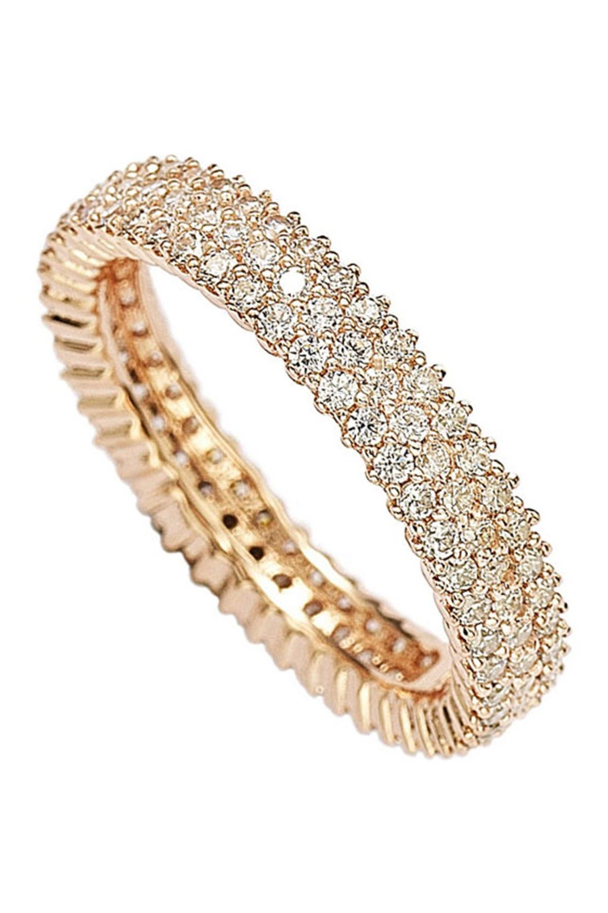 Image of Suzy Levian 14K Rose Gold Plated Sterling Silver Micro-Pave White CZ Eternity Band Ring