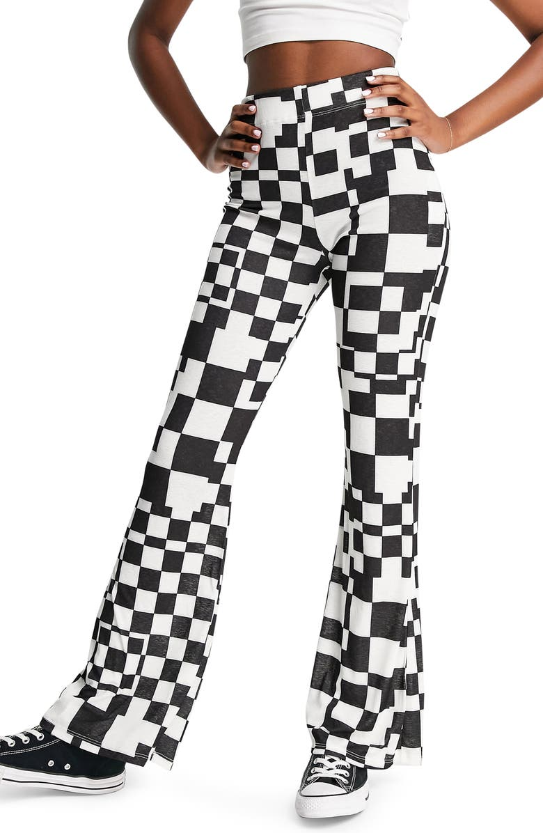 TOPSHOP Co-ord Checkerboard Flare Trousers, Main, color, BLACK/ WHITE