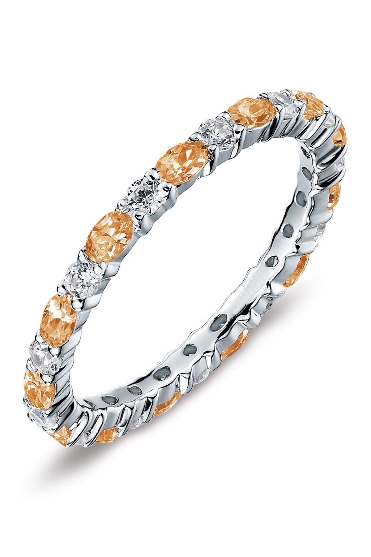 Image of LaFonn Sterling Silver November Birthstone Stackable Band Simulated Diamond Ring