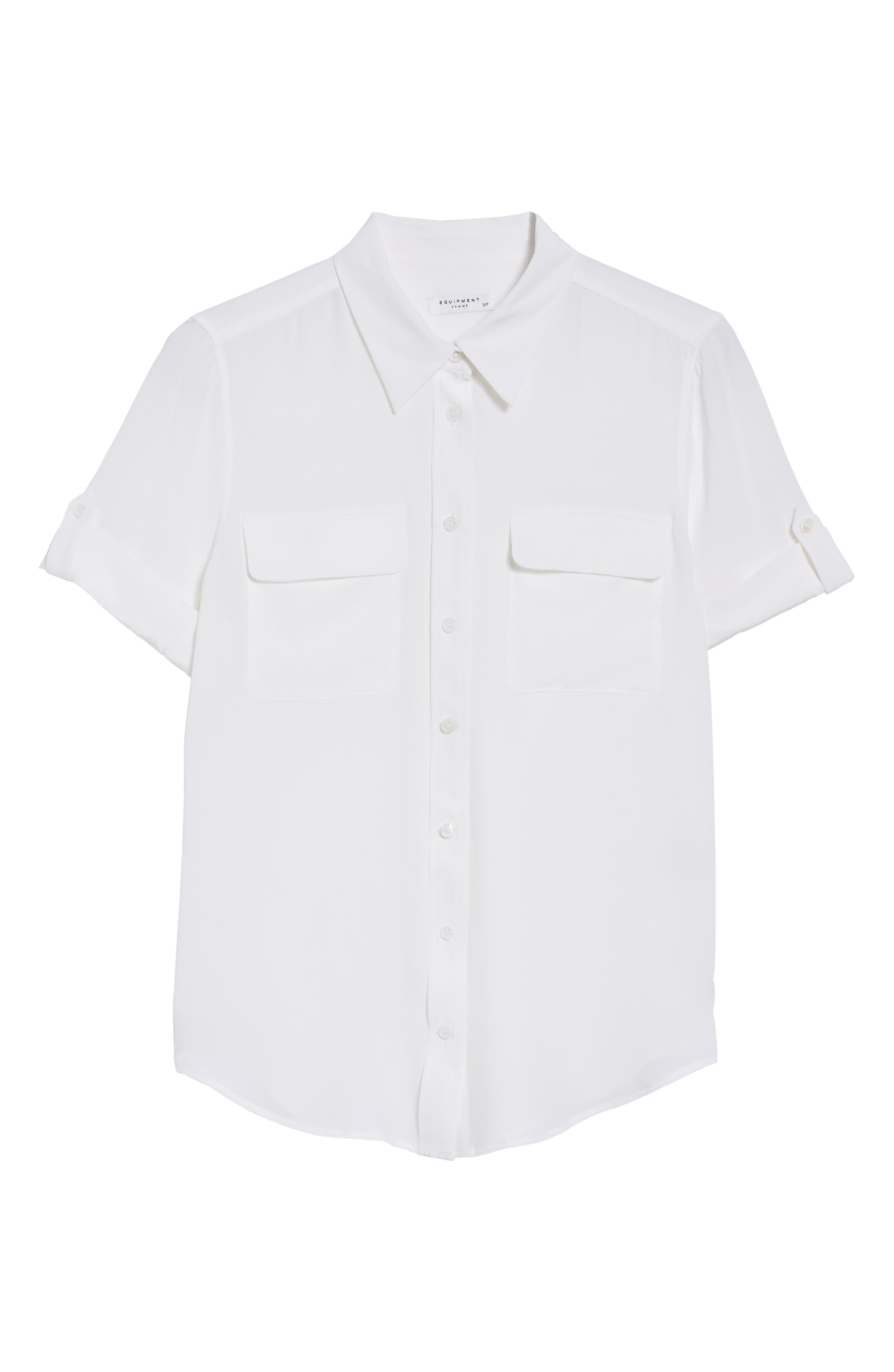 ,                             Slim Signature Short Sleeve Silk Shirt,                             Alternate thumbnail 6, color,                             BRIGHT WHITE