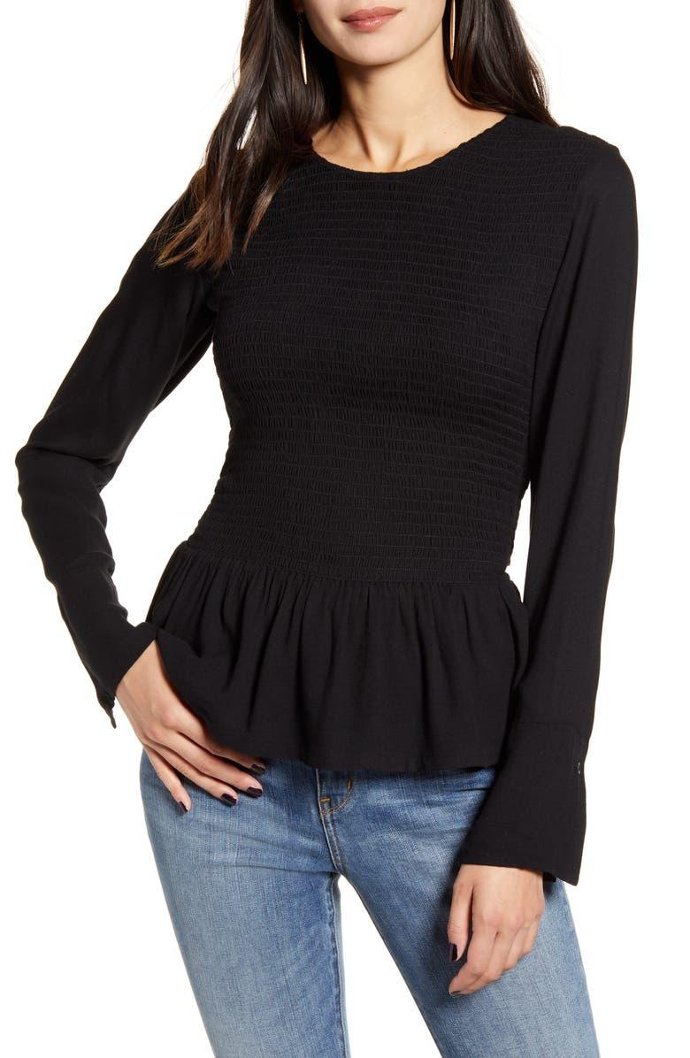 TREASURE & BOND Long Sleeve Smocked Top, Main, color, BLACK