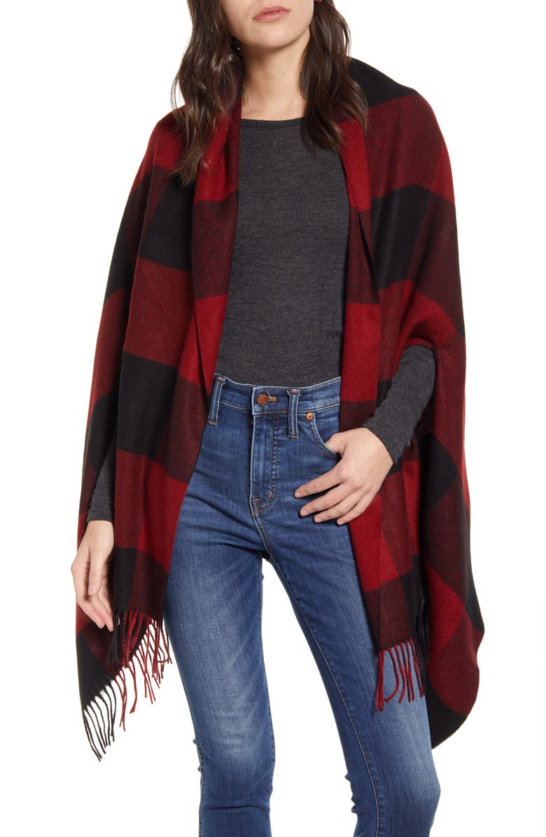 MADEWELL Buffalo Check Cape Scarf, Main, color, RUSTED RED MULTI