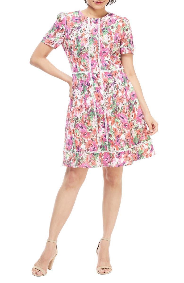 MAGGY LONDON Print Eyelet A-Line Dress, Main, color, 100