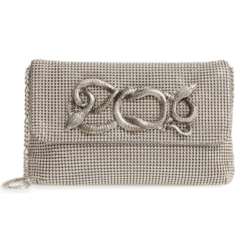 WHITING & DAVIS Serpent Mesh Clutch, Main, color, PEWTER