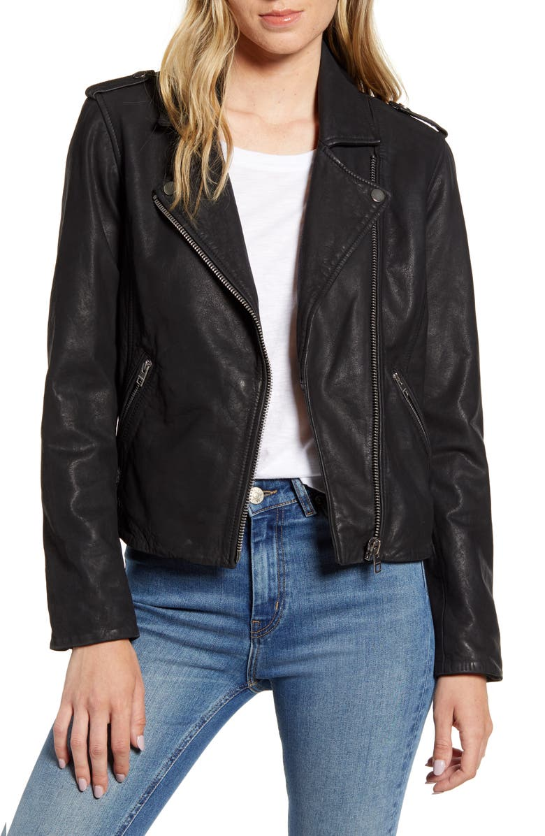 LUCKY BRAND Leather Moto Jacket, Main, color, 002