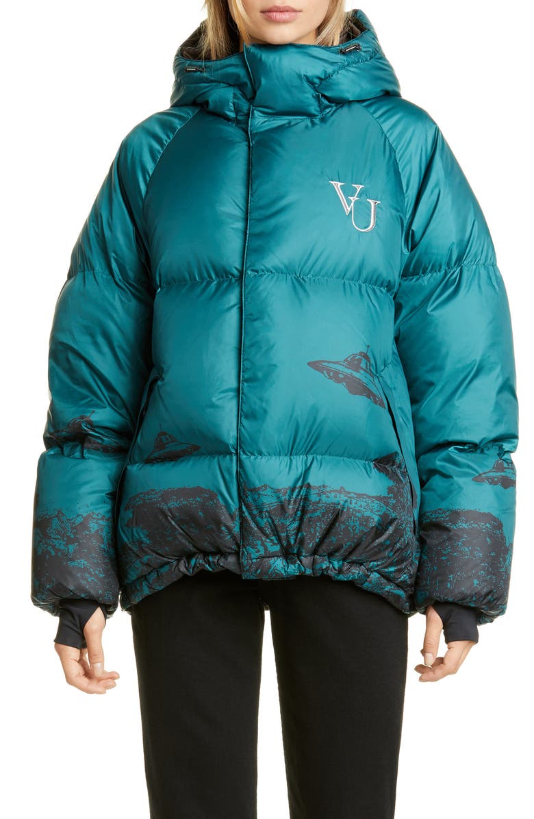 UNDERCOVER x Valentino Time Traveler Down Fill Puffer Coat, Main, color, B GRAY GREEN