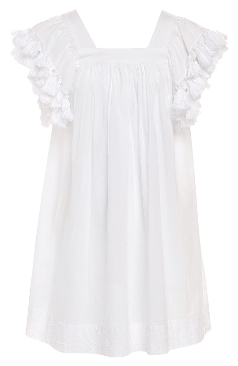 STELLA COVE Tassel Shoulder Cover-Up Dress, Main, color, WHITE