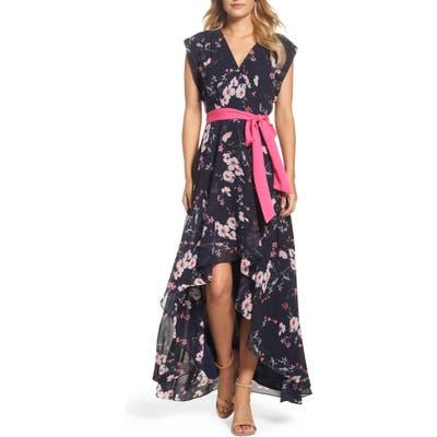Eliza J High/low Floral Faux Wrap Maxi Dress, Blue