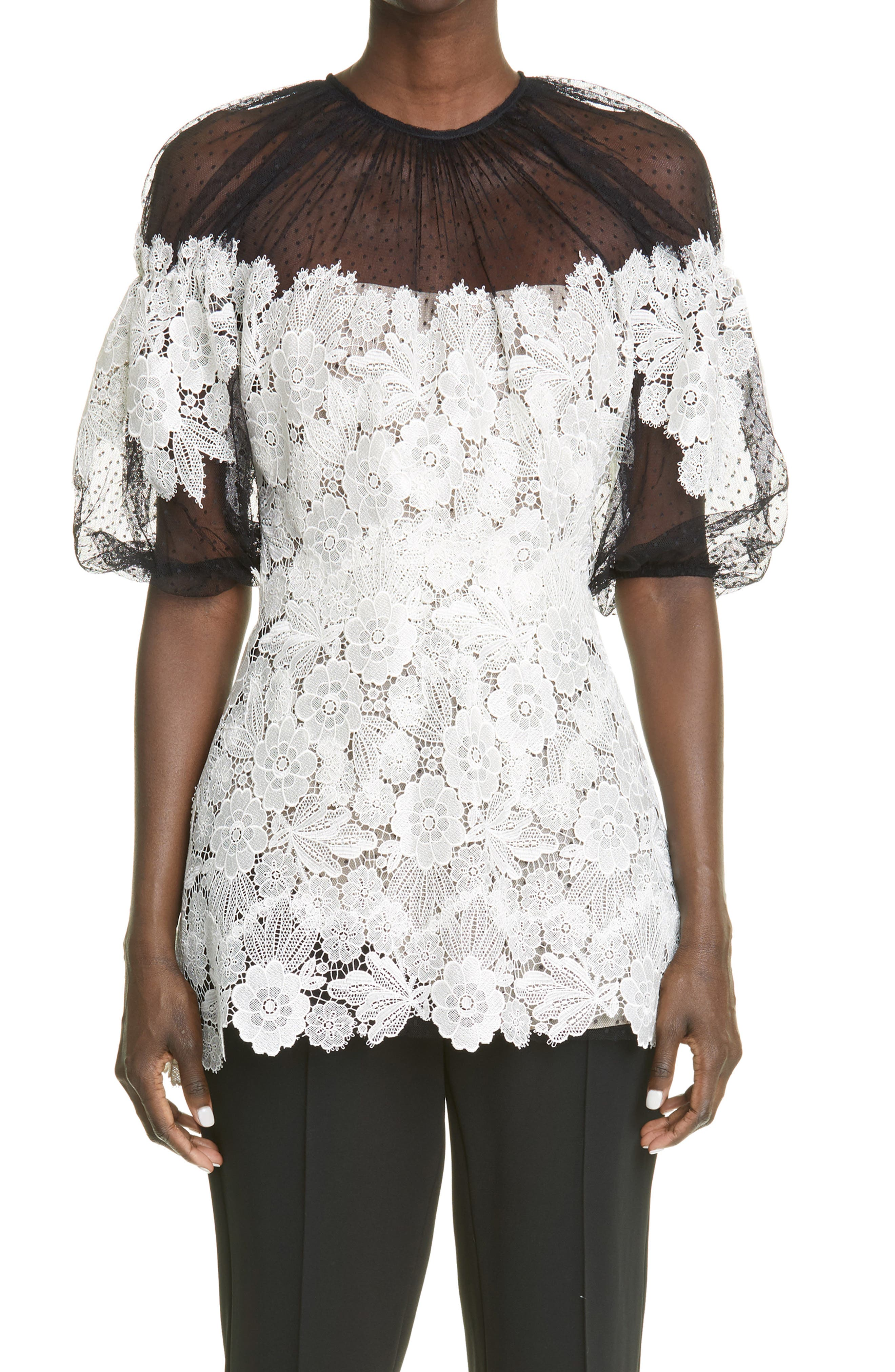 Floral Guipure Lace Puff Sleeve Blouse