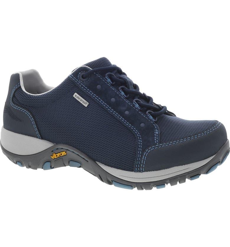 DANSKO Peggy Waterproof Sneaker, Main, color, NAVY SUEDE