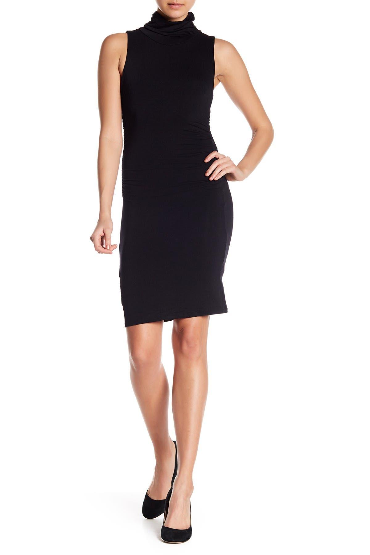 Image of Velvet Torch Ruched Sleeveless Turtleneck Dress