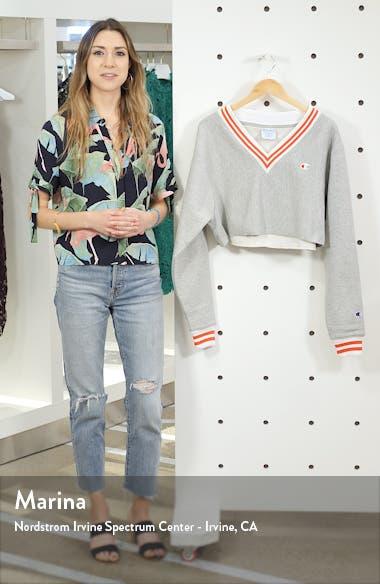 Yarn Dyed Stripe Trim Crop Sweatshirt, sales video thumbnail