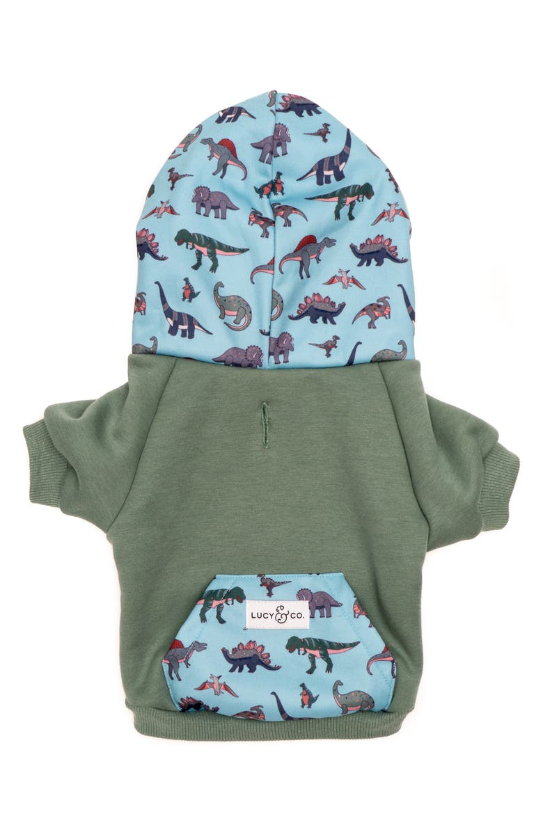 LUCY AND CO Lucy & Co. The Dinomite Delight Dog Hoodie, Main, color, DINOMITE DELIGHT